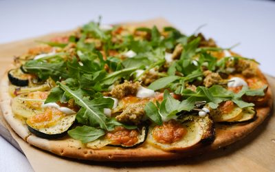 Potato Pizza with Olive Salsa