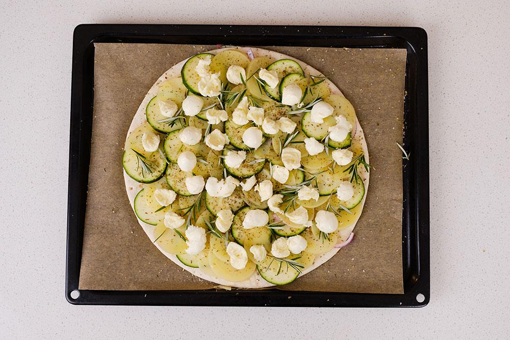 Potato Pizza with Olive Salsa